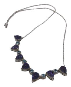Other London Blue Druzy Pear and Blue Topaz Rounds Necklace w Box