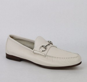 Gucci Men's White Leather Horsebit Loafer Gucci 10.5/ Us 11 367926 9022