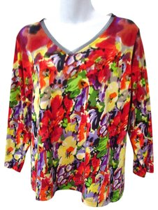 Lynn Ritchie Silk Floral Flowers Casual Colorful Tunic