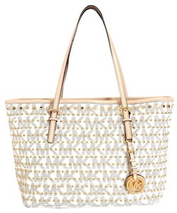Michael Kors Leather Tote in Vanilla Monogram