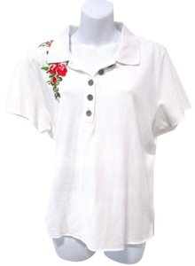 One Girl Who Embroidered Floral Feminine Basic Casual T Shirt White