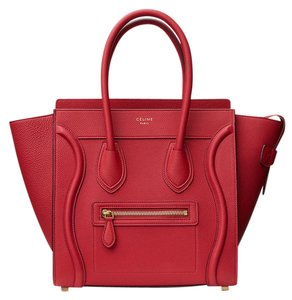 Céline Luggage Tote in Red