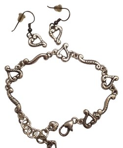 Brighton Tuscan etched heart bracelet and earrings