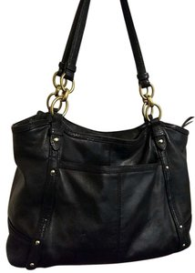 Coach Patent Leather Silver Hardware Alexadra Large Studded Tote in Black