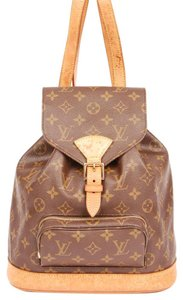 Louis Vuitton Montsouris Mm Leather Canvas Backpack