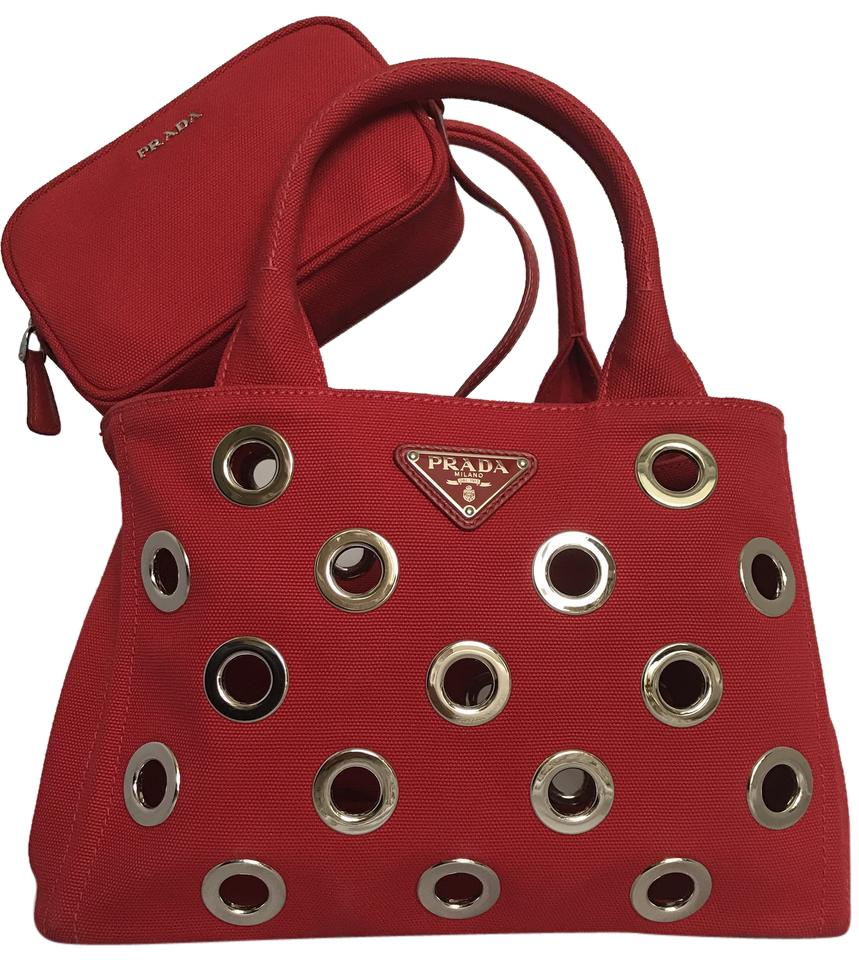 5db33665a9d5 Prada Canapa Grommet Garden Tote/Cross Body with Pouch Red Canvas Tote
