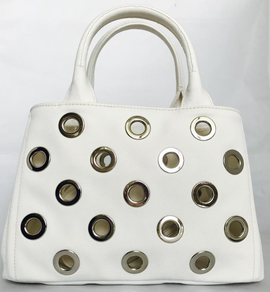 ece19d68c Prada Canapa Grommet Garden Tote/Cross Body with Pouch White Canvas ...
