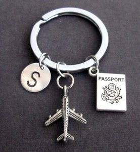 Fashion Jewelry For Everyone Silver Personalized Passport Traveling Document Airplane Keyring
