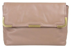 Bottega Veneta Leather Gold Pink Clutch