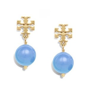 Tory Burch NEW!!! Tags Blue Gold Logo Drop Dangle Pearl Earrings