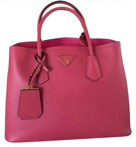 Prada Pink Crossbody Gold Hardware New Tote in red
