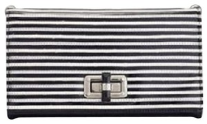 White House | Black Market Striped Black/White/Silver Clutch