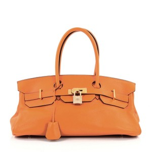Hermès Leather Satchel in Orange