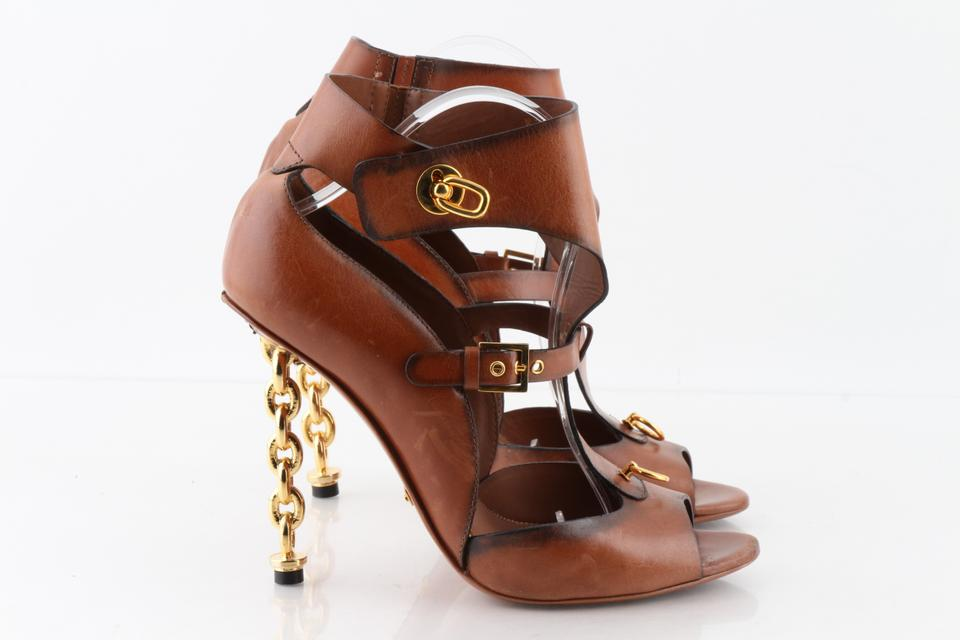 4685e18b288 Tom Ford Brown Leather Gladiator with Chain Heel Sandals Size US 11 Regular  (M