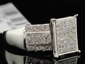 Diamond Rectangle Engagement Ring 10k White Gold Pave Round Cut 0.50 Ct