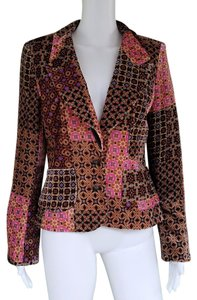 Kay Unger Velvet Colorful Jacket Lined Multi Color Blazer