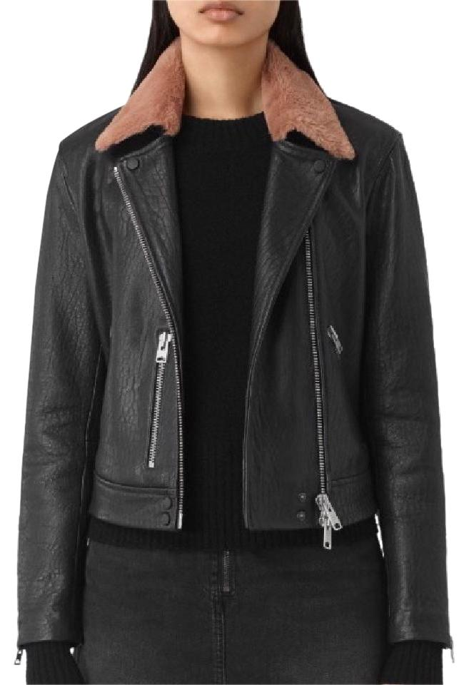 AllSaints Shorland Leather Black And Pink Leather Jacket - 22% Off ...