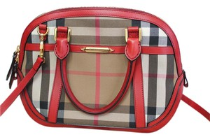 Burberry Leather Check Plaid Orchard Cross Body Bag