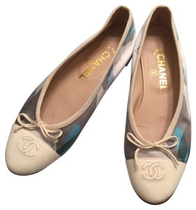 Chanel Silk Logo Patterned Leather Ballerina blue and cream Flats
