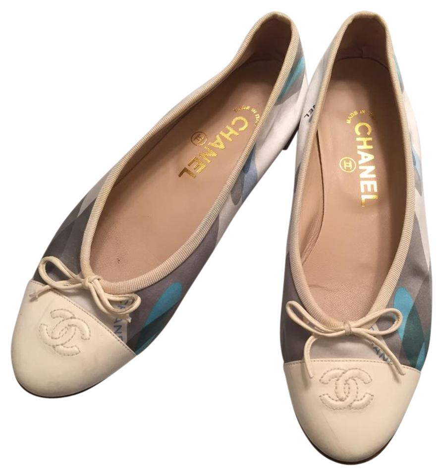 063dacd1690 Chanel Blue and Cream Silk Leather Ballerina Flats Size US 8 Regular ...