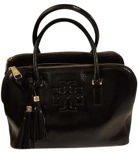 Tory Burch Patent-leather Tory Satchel in Black