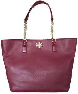 Tory Burch Large Leather Chain Tote in Burgundy