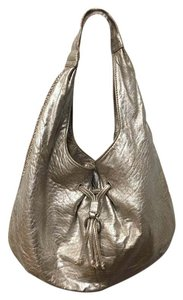 Cole Haan Argento Leather Distressed Metallic Hobo Bag