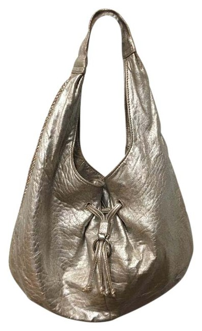 Item - Argento Distressed Silver Leather Hobo Bag