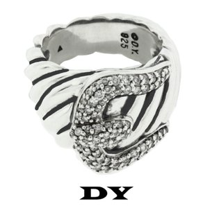 David Yurman David Yurman SS Cable Bucke Ring with Pave' Diamonds, Size 6