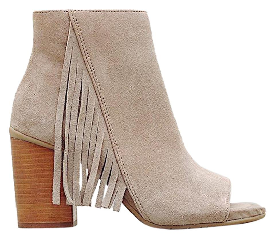90eb17869b31b Kenneth Cole Reaction Tan Frida Taupe Suede Leather Open Toe Fringe ...