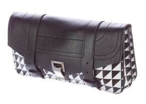 Proenza Schouler New York Italy Print Silver Hardware Leather Black Clutch