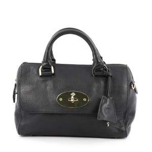 Mulberry Leather Satchel in Black