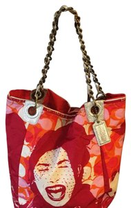 Coach Tote in pink orange red white