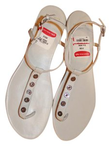 Cole Haan Thong Rivet Tea Length Leather Strappy White Sandals