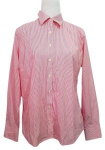 Lands' End Button Down Shirt Red White Pinstripe