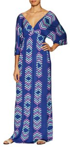 Blue Multi Maxi Dress by Fresha London Maxi Dolman