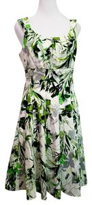 London Times short dress White Green Gray Floral on Tradesy