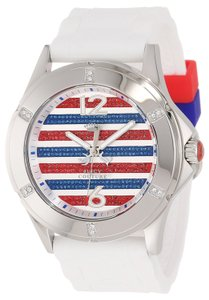 Juicy Couture Juicy Couture Nautical Crystal Emb Watch Silicone Strap Red White Blue