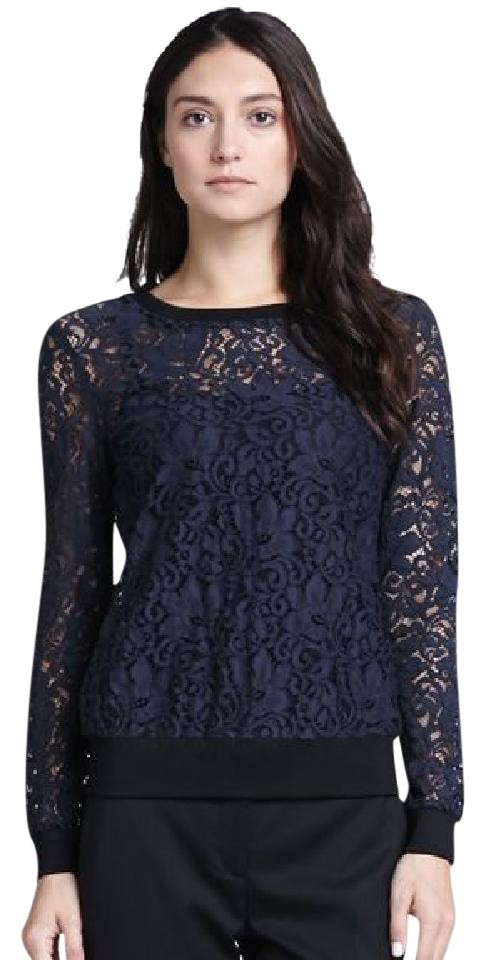 5c94c9c7d1 Theory Black W New W/ Tags-lace Long Sleeve Top-sale Blouse Size 12 (L) -  Tradesy