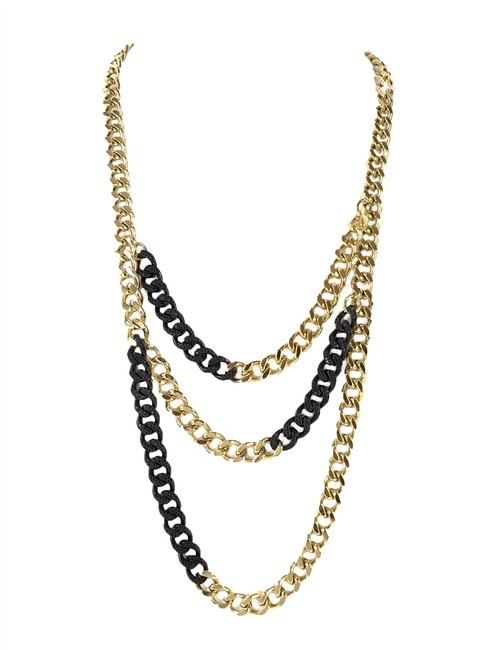 Item - Gold/Black Two Tone Pave Curb Link Layered Black/Gold Necklace
