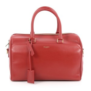 Saint Laurent Leather Satchel in Red