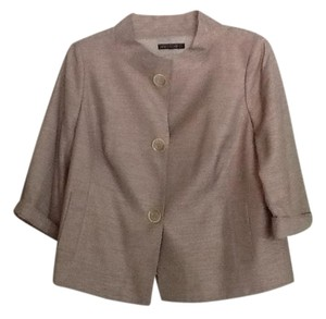 Lafayette 148 New York Dressy Lined Classic Tan with pinkish cream. Gold thread woven throughout. Blazer