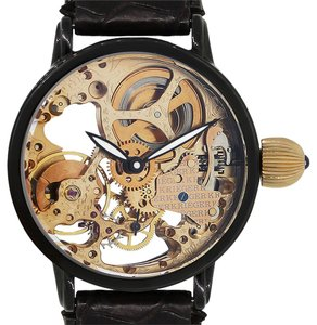 Kreiger Kreiger Gigantium Black PVD Stainless Steel Skeleton Leather Watch