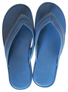 Louis Vuitton Leather Thong Flip Flop Stitching Flatform blue Sandals