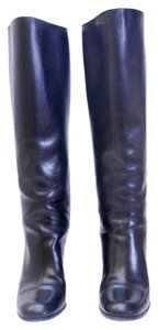 Chanel Leather Knee High Black Boots