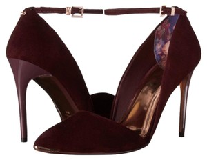 Ted Baker Leather Rose Gold Louboutin Ankle Strap burgundy Pumps