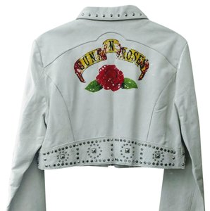 Wilsons Leather White Studded Leather GNR Leather Jacket