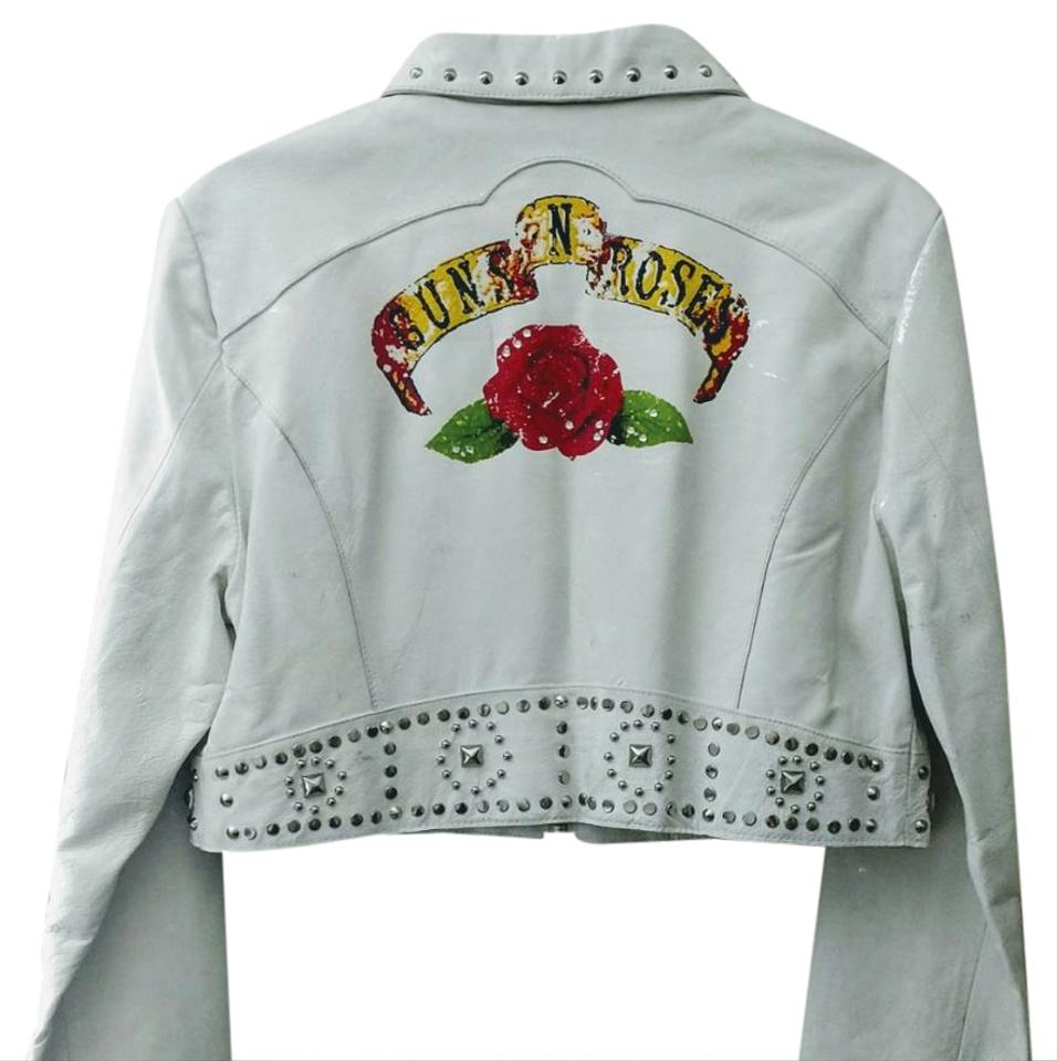 Leather jacket with roses - Wilsons Leather White Studded Leather Gnr Leather Jacket