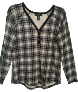 Chaps Plaid Top black/bone