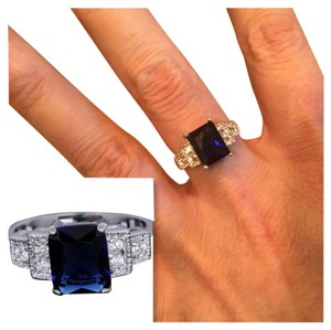 Other New 6ct White Gold Filled Blue Sapphire Ring